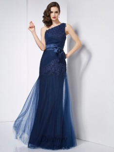 A-Line/Princess One-Shoulder Organza Dress