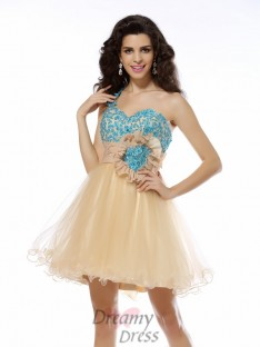 A-Line/Princess One-Shoulder Short/Mini Net Dress