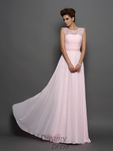 A-Line/Princess Scoop Chiffon Sweep/Brush Train Dress