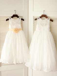 A-line/Princess Scoop Floor-length Lace Flower Girl Dresses with Sash/Ribbon/Belt