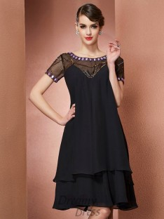 A-Line/Princess Scoop Short Sleeves Chiffon Knee-Length Dress