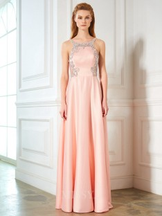 A-Line/Princess Scoop Sleeveless Satin Floor-Length Dress