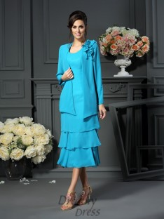 A-Line/Princess Scoop Tea-Length Chiffon Mother of the Bride Dress