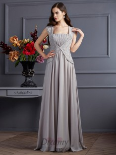 A-Line/Princess Square Chiffon Floor-Length Dress