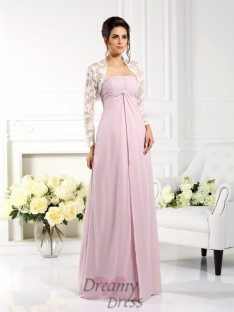 A-Line/Princess Strapless Lace Floor-Length Chiffon Mother of the Bride Dress