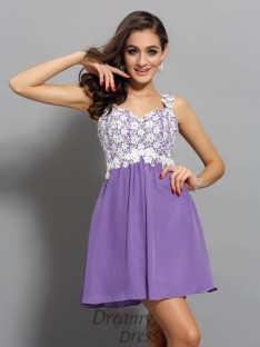 A-Line/Princess Straps Chiffon Short/Mini Dress