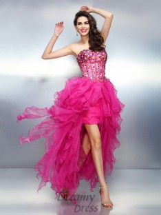 A-Line/Princess Sweetheart Asymmetrical Organza Dress