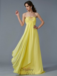 A-Line/Princess Sweetheart Chiffon Sweep/Brush Train Dress