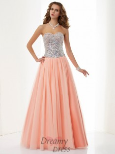 A-Line/Princess Sweetheart Floor-Length Elastic Woven Satin Dress