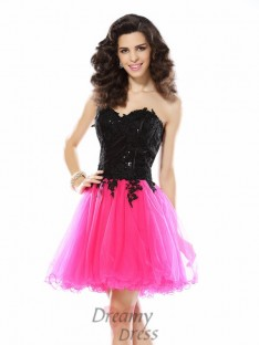A-Line/Princess Sweetheart Lace Short/Mini Net Dress