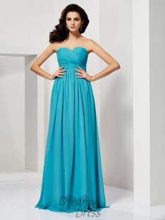 A-Line/Princess Sweetheart Pleats Floor-Length Chiffon Dress