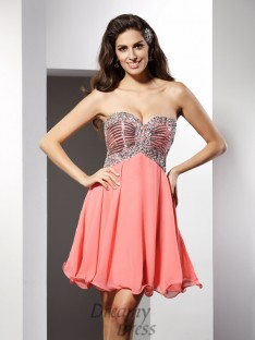 A-Line/Princess Sweetheart Short/Mini Chiffon Dress