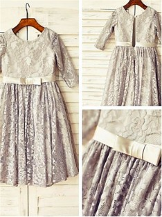 A-line Scoop 3/4 Sleeves Tea-length Lace Flower Girl Dress