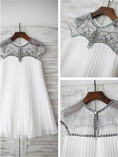 A-line Scoop Beading Floor-Length Chiffon Flower Girl Dress