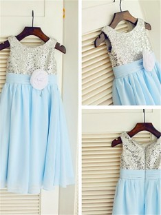 A-line Scoop Floor-Length Chiffon Flower Girl Dress
