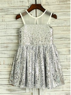 A-line Scoop Floor-Length Sequins Flower Girl Dress
