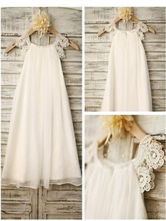 A-line Scoop Lace Ankle-length Chiffon Flower Girl Dress