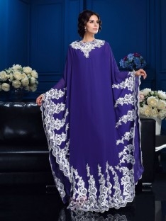 A-line Scoop Long Sleeves Floor-Length Chiffon Mother Of The Bride Dress
