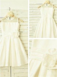 A-line Scoop Tea-Length Chiffon Flower Girl Dress