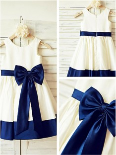 A-line Scoop Tea-Length Satin Flower Girl Dress