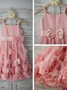 A-line Spaghetti Straps Floor-Length Chiffon Flower Girl Dress