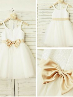 A-line Spaghetti Straps Floor-Length Tulle Flower Girl Dress