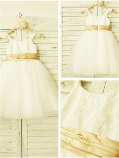 A-line Spaghetti Straps Lace Tea-Length Tulle Flower Girl Dress