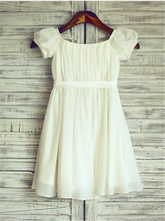 A-line Square Ruched Tea-Length Chiffon Flower Girl Dress
