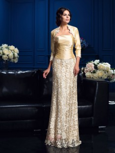 A-line Strapless Floor-Length Lace Mother Of The Bride Dress