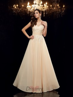A-line Straps Chiffon Long Mother of the Bride Dress