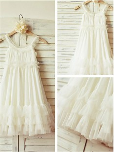 A-line Straps Floor-Length Chiffon Flower Girl Dress