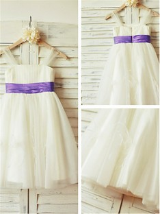 A-line Straps Floor-Length Tulle Flower Girl Dress