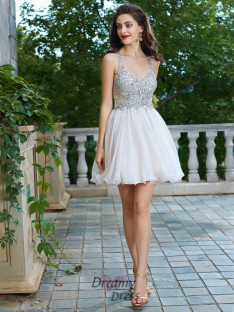 A-Line Straps Short Chiffon Dress with Rhinestone