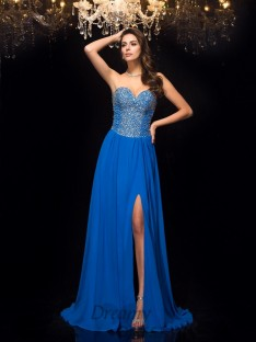 A-line Sweetheart Chiffon Sweep/Brush Train Dress