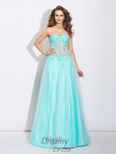 A-line Sweetheart Lace Sweep/Brush Train Net Dress