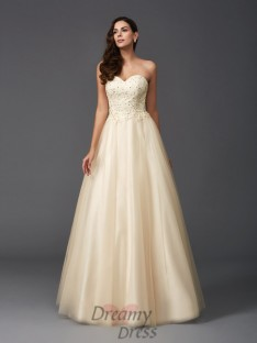 A-line Sweetheart Net Long Dress