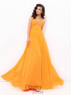 A-line V-neck Chiffon Long Dress