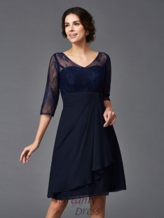 A-line V-neck Lace Knee-Length Chiffon Mother of the Bride Dress