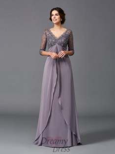 A-line V-neck Lace Long Chiffon Mother of the Bride Dress