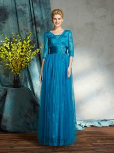 A-line V-neck Net Long Mother of the Bride Dress