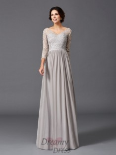 A-line V-neck Ruffles Long Chiffon Mother of the Bride Dress