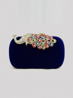 Velvet With Rhinestone Evening/Party Handbags