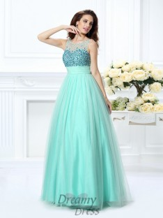 Ball Gown Bateau Chiffon Long Dress