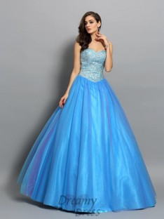 Ball Gown Elastic Woven Satin Sweetheart Floor-Length Dress