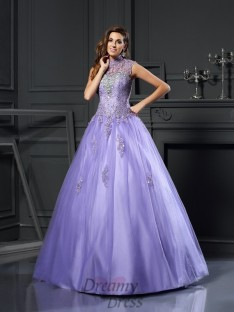 Ball Gown High Neck Net Floor-Length Dress