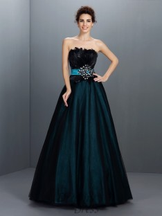 Ball Gown Strapless Feathers/Fur Elastic Woven Satin Long Dress
