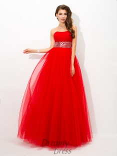 Ball Gown Strapless Net Long Dress
