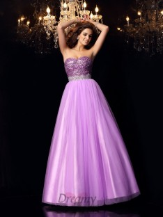Ball Gown Sweetheart Elastic Woven Satin Floor-Length Dress