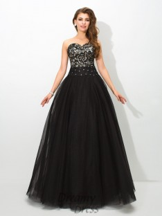Ball Gown Sweetheart Lace Net Long Dress