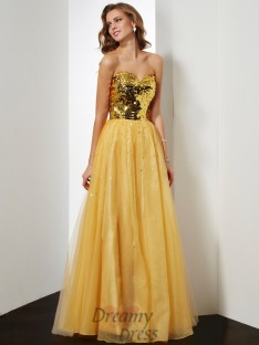 Ball Gown Sweetheart Sequin Floor-Length Organza Dress